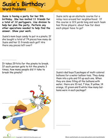 Susie\'s Birthday: Division Word Problems | division | Pinterest