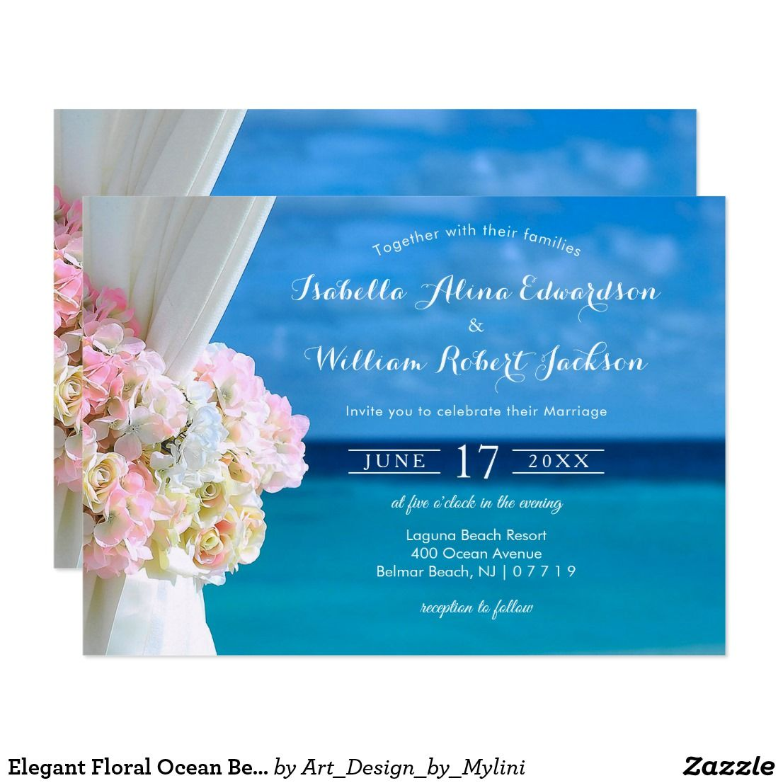 When Do I Send Out Wedding Invitations: Elegant Floral Ocean Beach Wedding Invitation