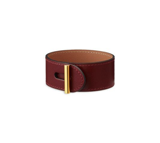 "Design your own photo charms compatible with your pandora bracelets. Hydra Hermes leather bracelet (size S)  Hermes red tadelakt calfskin  Gold plated hardware, 6.7"" circumference."