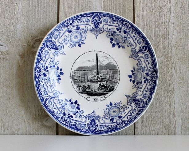 Antique French Medaille d\u0027Or 1844 Sarreguemines U\u0026C Ceramic Plate - With Luxor Obelisk \u0026 Place De La Concorde Paris - 1800s - French Kitchen Vintage by ... & Antique French Medaille d\u0027Or 1844 Sarreguemines U\u0026C Ceramic Plate ...