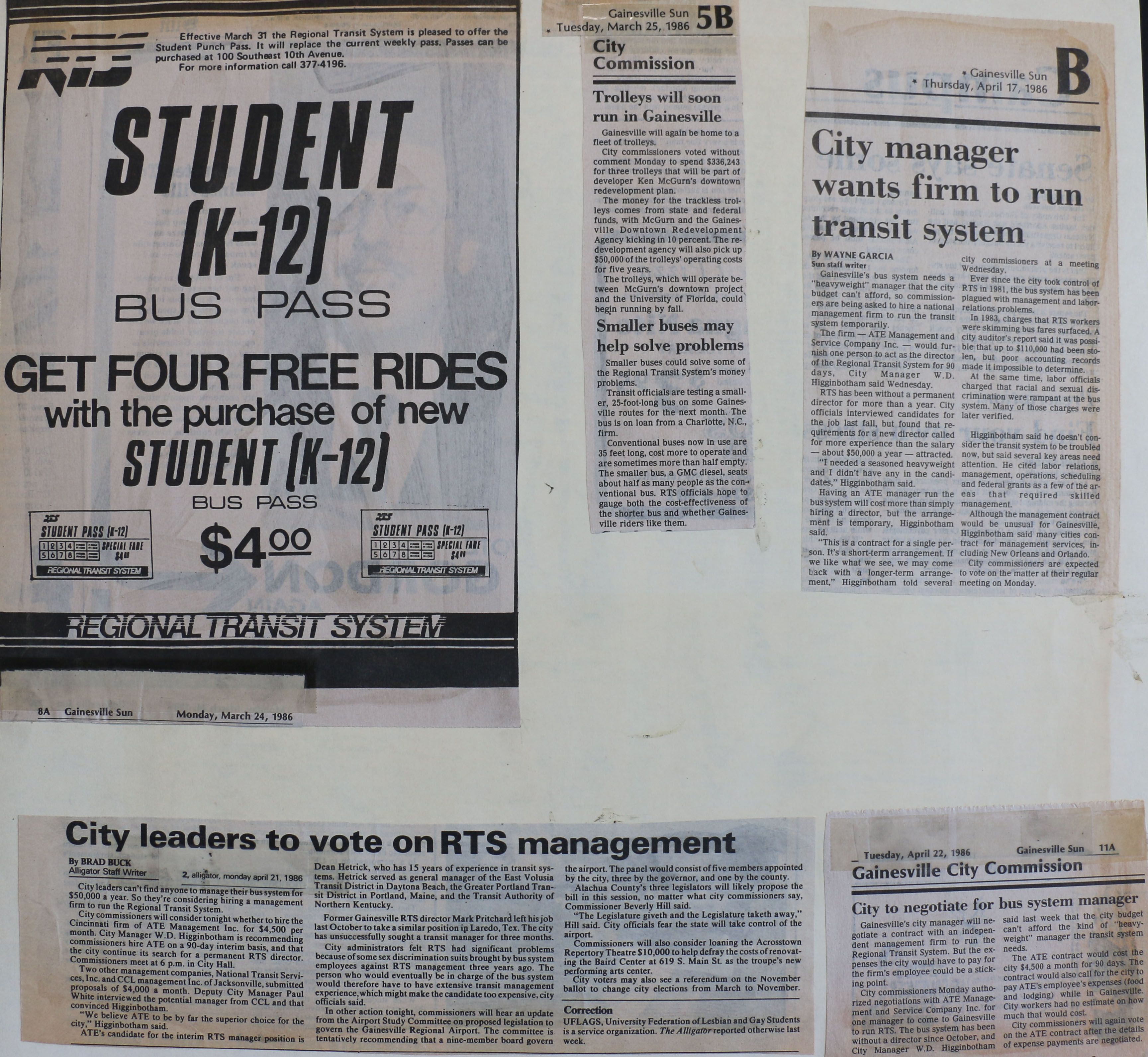 News Articles Rts Ad Trolleys Will Soon Run In Gainesville Sun 3 25 86 Smaller Buses May Help Solve Problems 3 Read Newspaper New Students City Manager