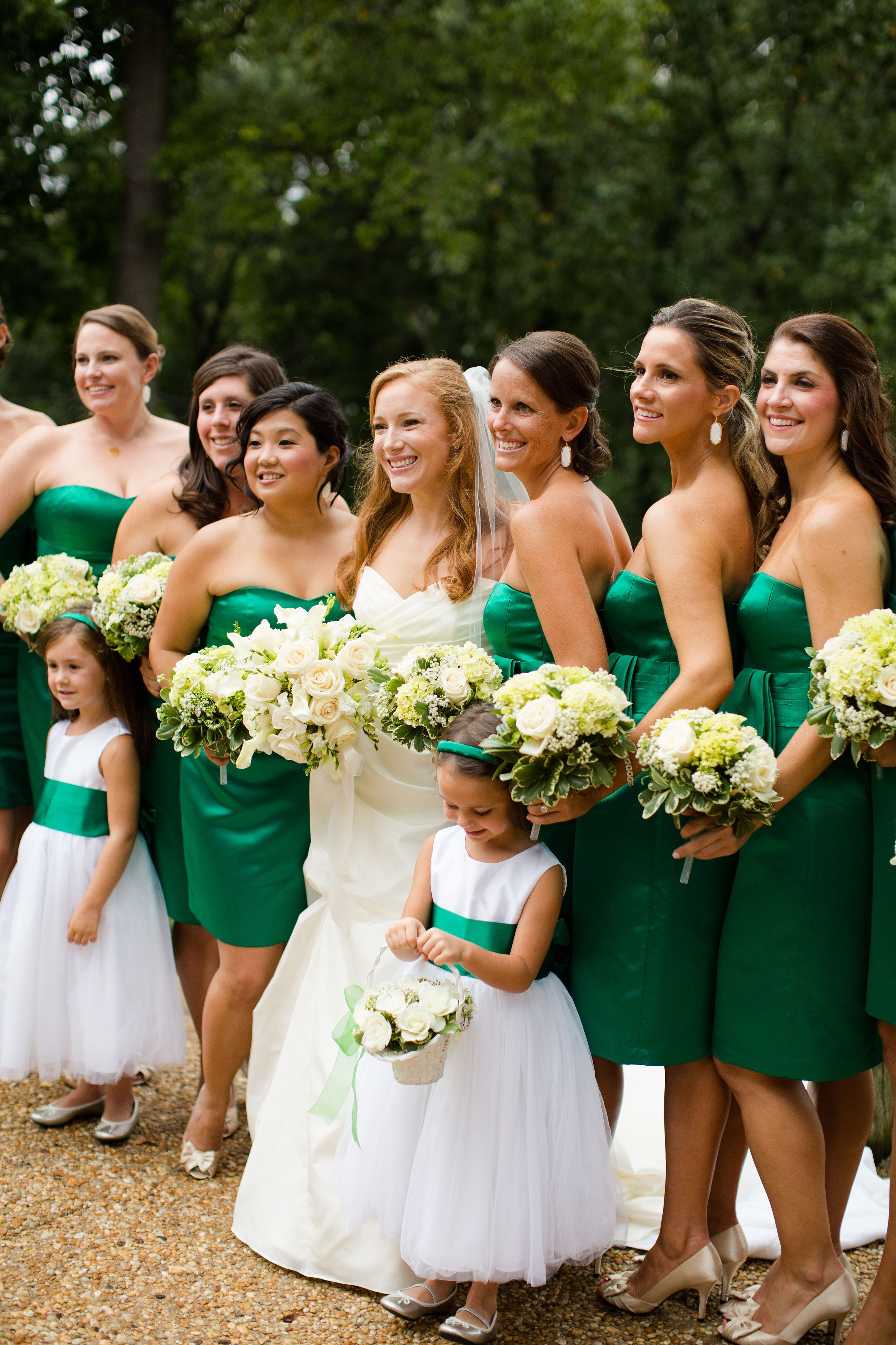 Emerald wedding dress  Bridal party in white and emerald  Real Weddings  Pinterest