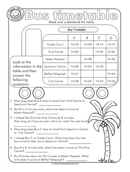 bus timetable teaching teaching math worksheets homeschool math. Black Bedroom Furniture Sets. Home Design Ideas