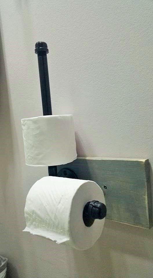 Steampunk Toilet Paper Holder + Storage/Industrial Pipe Toilet Paper Holder  W/Storage/