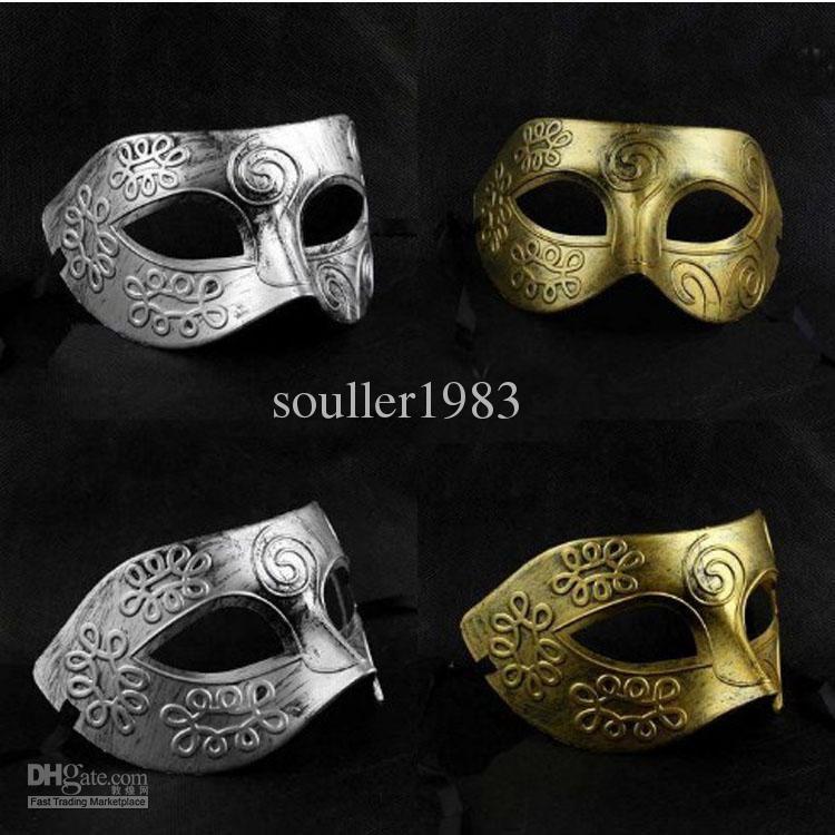 Half Face Man Mask Archaistic Roma Antique Classic Mardi Gras Masquerade Hallowe