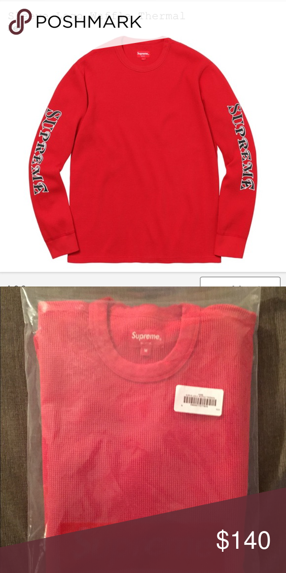 3851ff225115 Supreme Sleeve Logo Waffle Thermal Red Medium Brand new supreme thermal  from 11/30 drop just received Supreme Shirts Tees - Long Sleeve