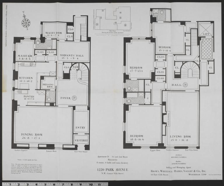 1220 Park Avenue Apartment D Maisonette 1st And 2nd Floors Columbia Digital Library Collections Doll House Plans House Floor Plans Mansion Floor Plan