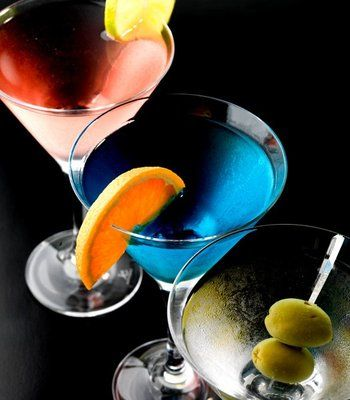 Martinis in the colors of the rainbow.