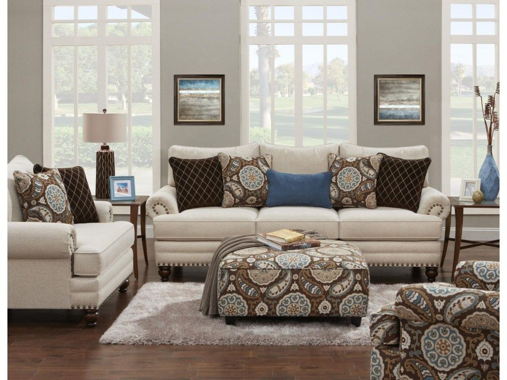 Fusion Furniture 2820 Traditional Sofa With Nailhead Trim Miskelly Furniture Sofas White Linen Sofa Fusion Furniture Living Room Sets
