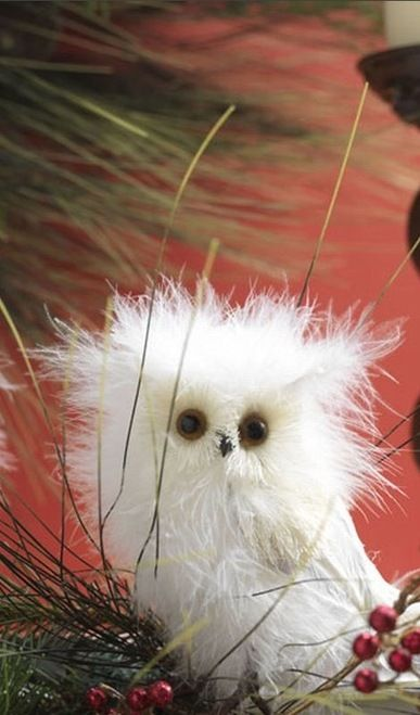 5 White Fuzzy Owl Standing Christmas Ornament  This adorable owl