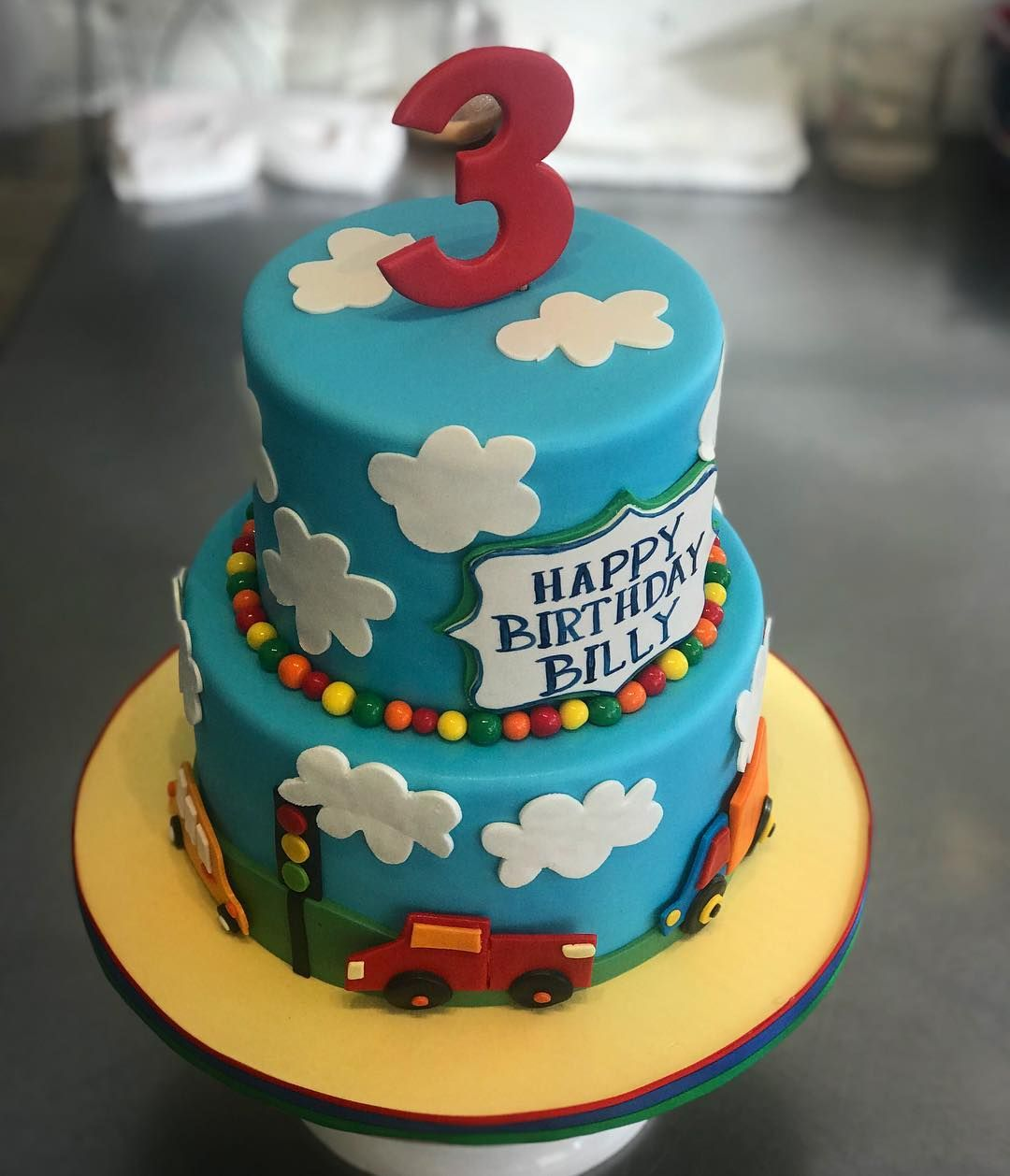 Stupendous An Adorable Car Themed Birthday Cake Perfect For A 3 Year Old Funny Birthday Cards Online Overcheapnameinfo