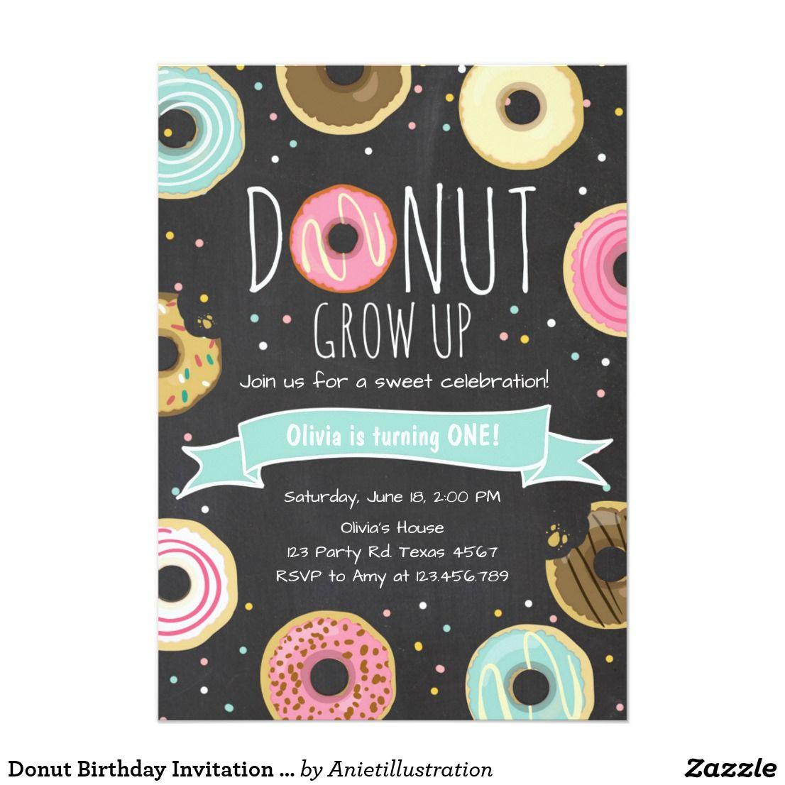 Donut Birthday Invitation Donut Grow Up Party Zazzle Com