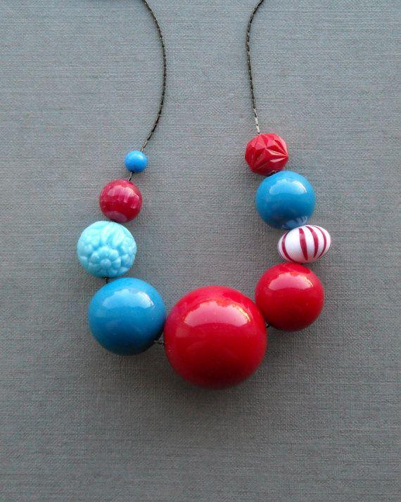 republique necklace - vintage remixed lucite and glass