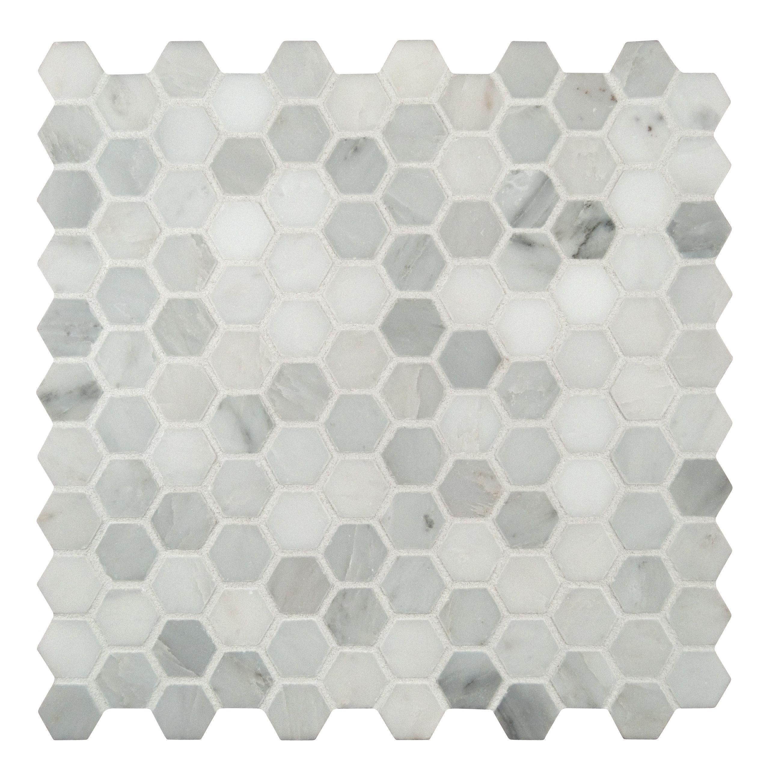 Arabeo Carrara 12 X Marble Tile In White