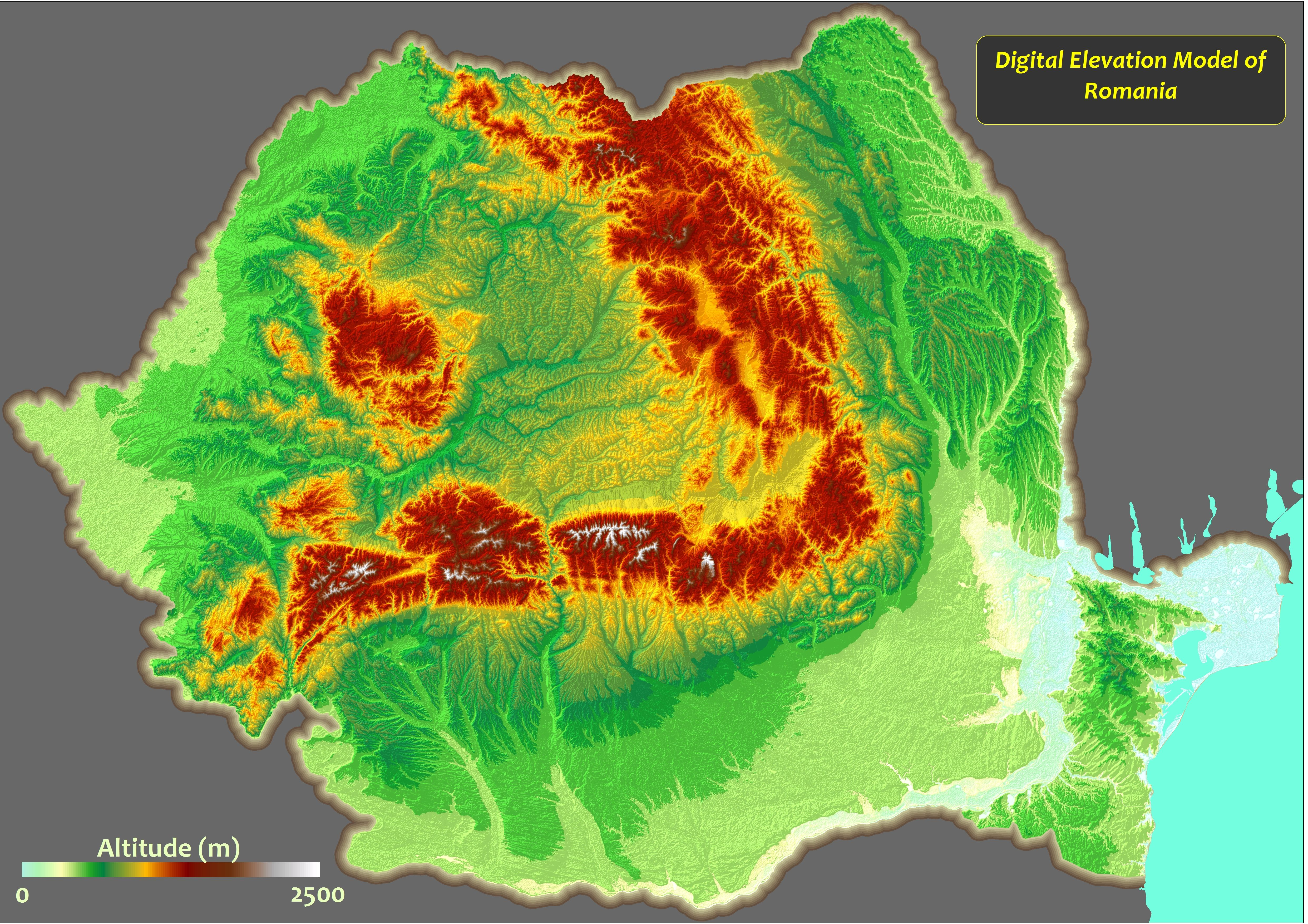 Topographic Map of Romania Topographic Map of
