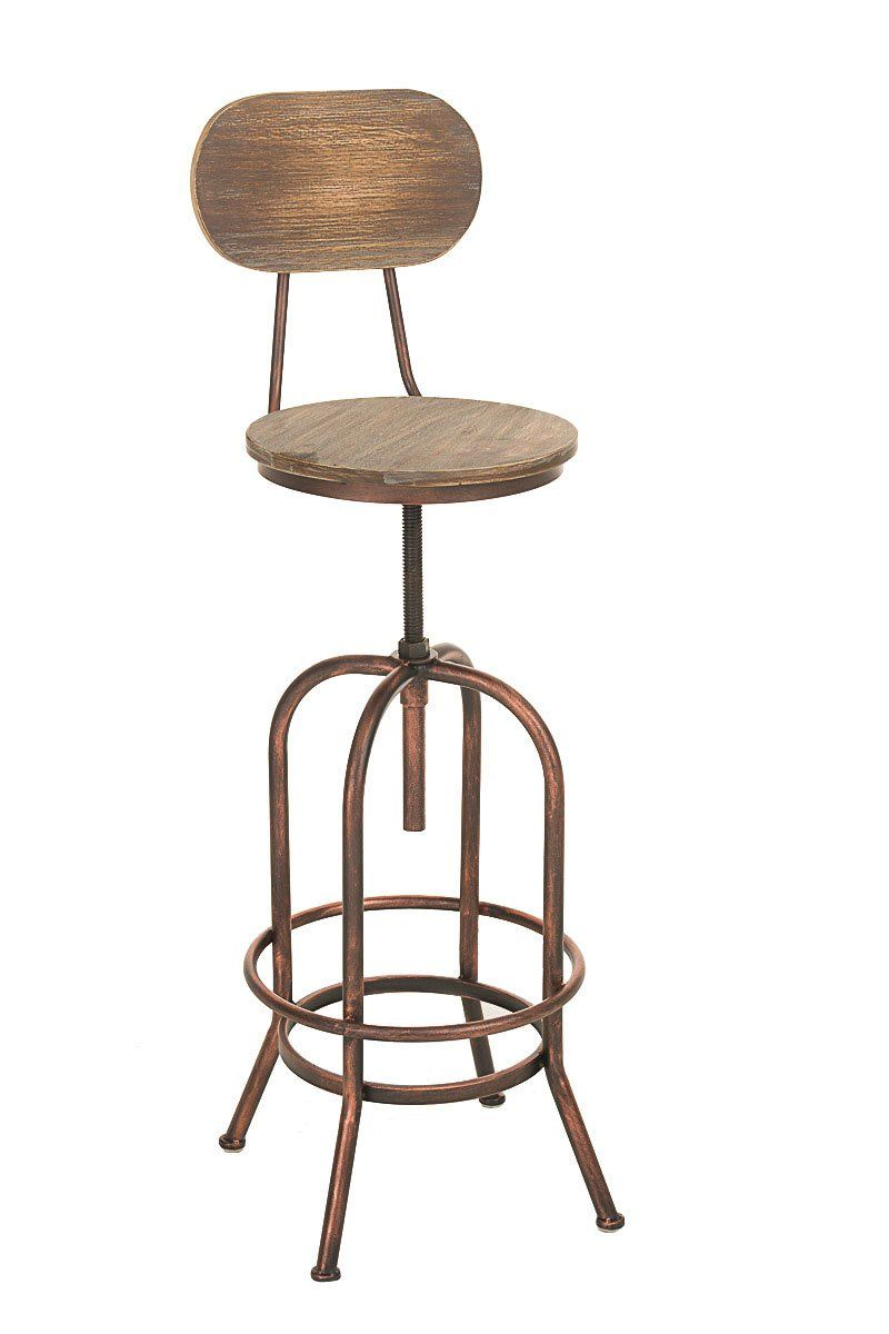 CLP Design Barhocker PINO Im Industrial Look, Materialmix Aus Holz Und  Metall, Sitzhöhe Stufenlos
