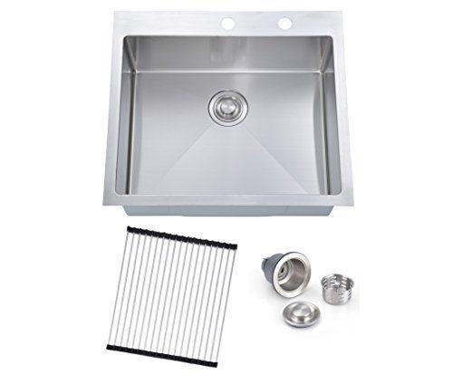 Sinogy 25 X22 Inch H2522 Rl Topmount Deep Single Bowl 16 Https Www Amazon Com Dp B072xg4lws Ref Cm Sw R Pi Stainless Steel Kitchen Sink Sink Kitchen Sink