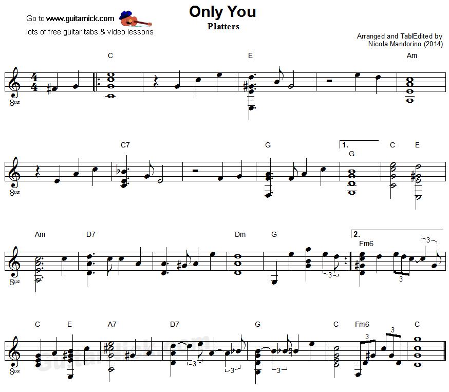 Only You - fingerstyle guitar sheet music   Music sheet   Pinterest ...