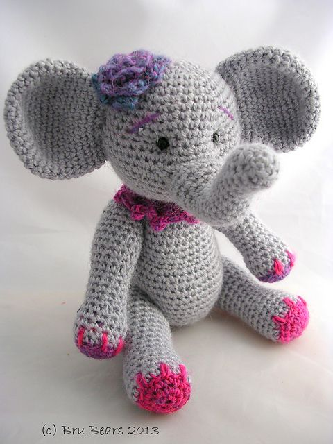 Ellie the Elephant pattern by Brú Bears | Elephants | Crochet
