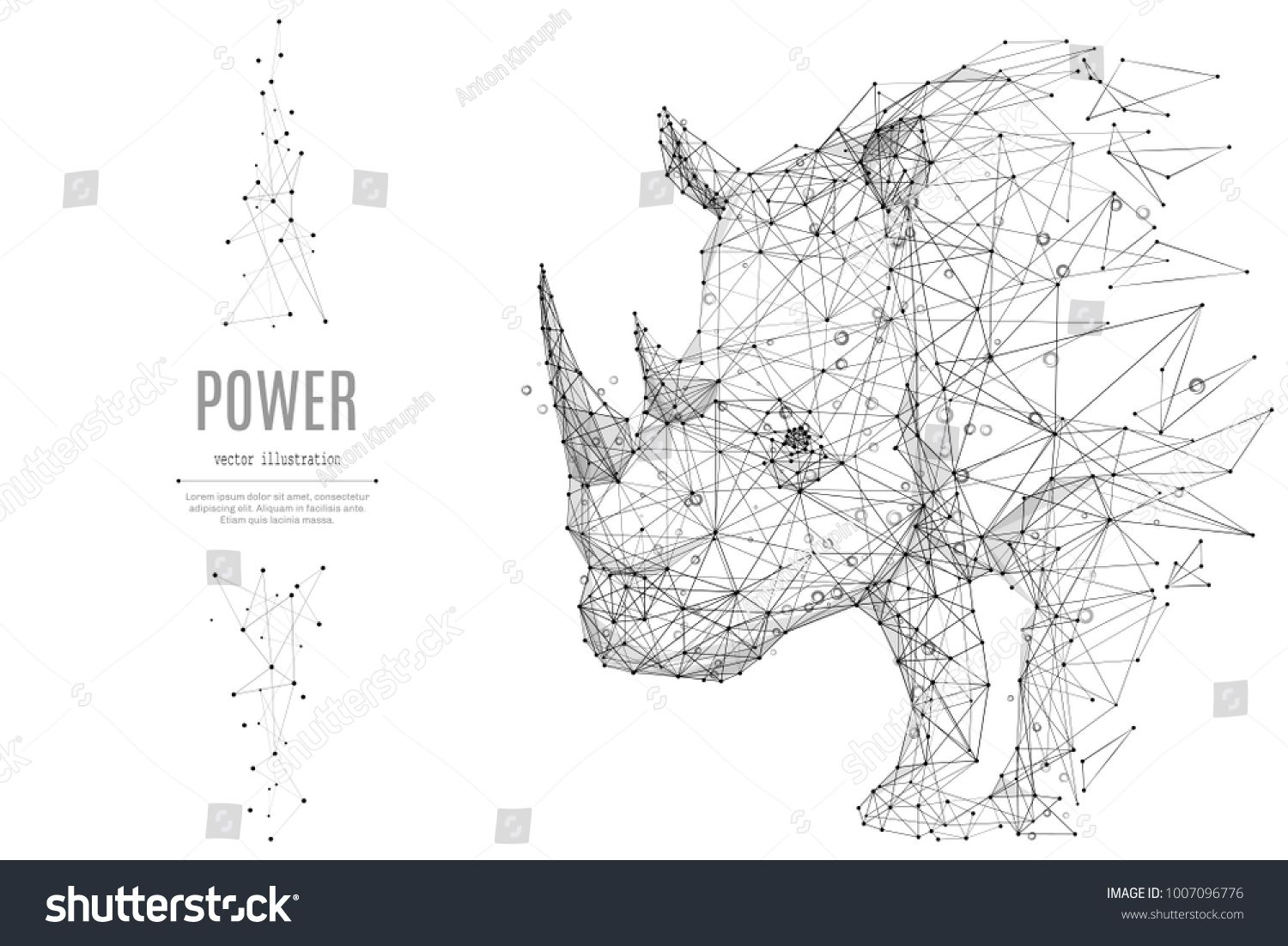 Abstract mash line and point rhinoceros origami on white background