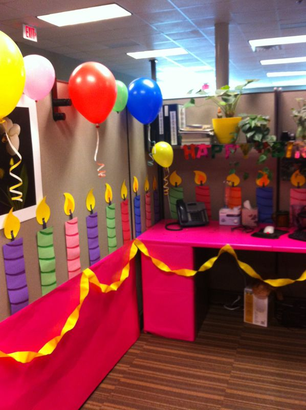 Just As The Title Implies This Cube Was Transformed Into A Gigantic Birthday Cake Cumpleanos Cubicle Decorations Office