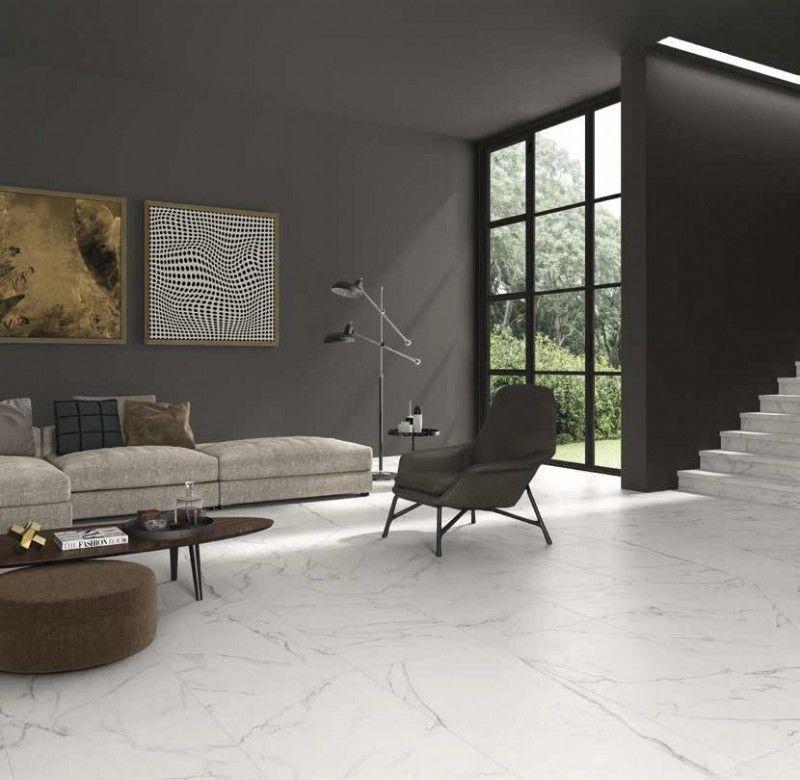 aura porcelain tile in statuario white