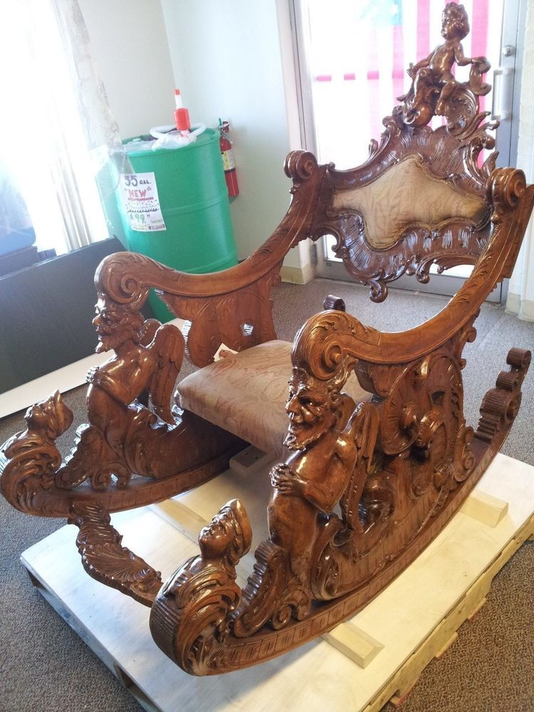 antique rocking chairs 1800\'s 1800`S CARVED ANTIQUE WOOD ROCKING CHAIR,CHERUB,ANGELS,GODS,DEMONS  antique rocking chairs 1800\'s