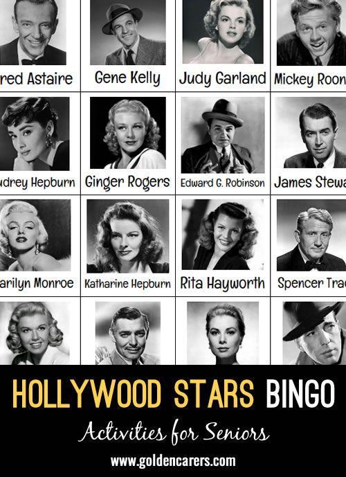 Hollywood Stars Bingo #hollywoodstars