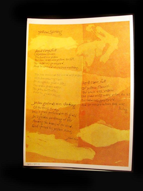 Inspirational Sister Corita Kent Poster Yellow spring 1960's