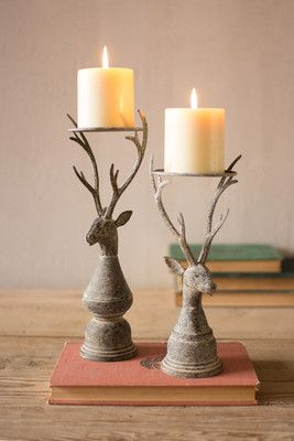 Set2 Metal Deer Taper Candle Holders Stumpenkerzen