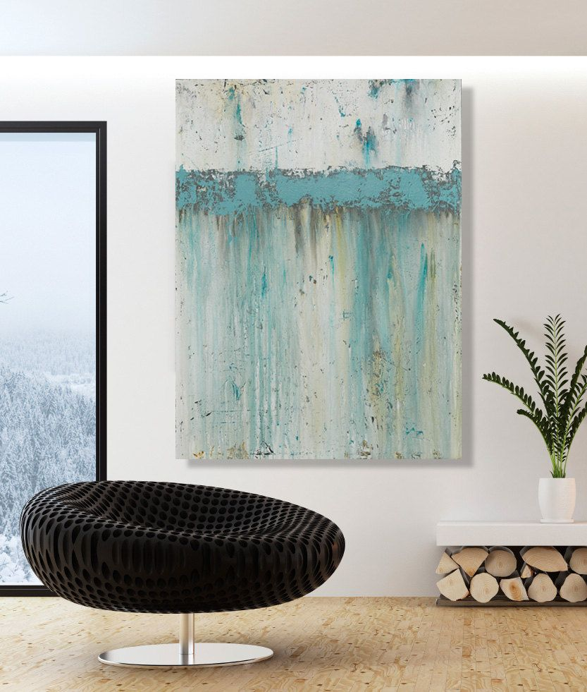 Large teal wall art modern blue original abstract painting by