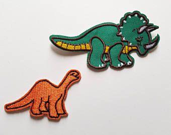 Dinosaurio De 2pcs Bordados Parches Apliques Hierro En O Coser En Divisas Para Camisetas Pantalones Vaqueros Camisas Parch Parches Bordados Parches Bordado