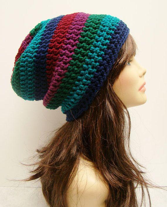 6105fc37cc8 FREE SHIPPING - Unisex Slouchy Crochet Beanie Hat - Multi
