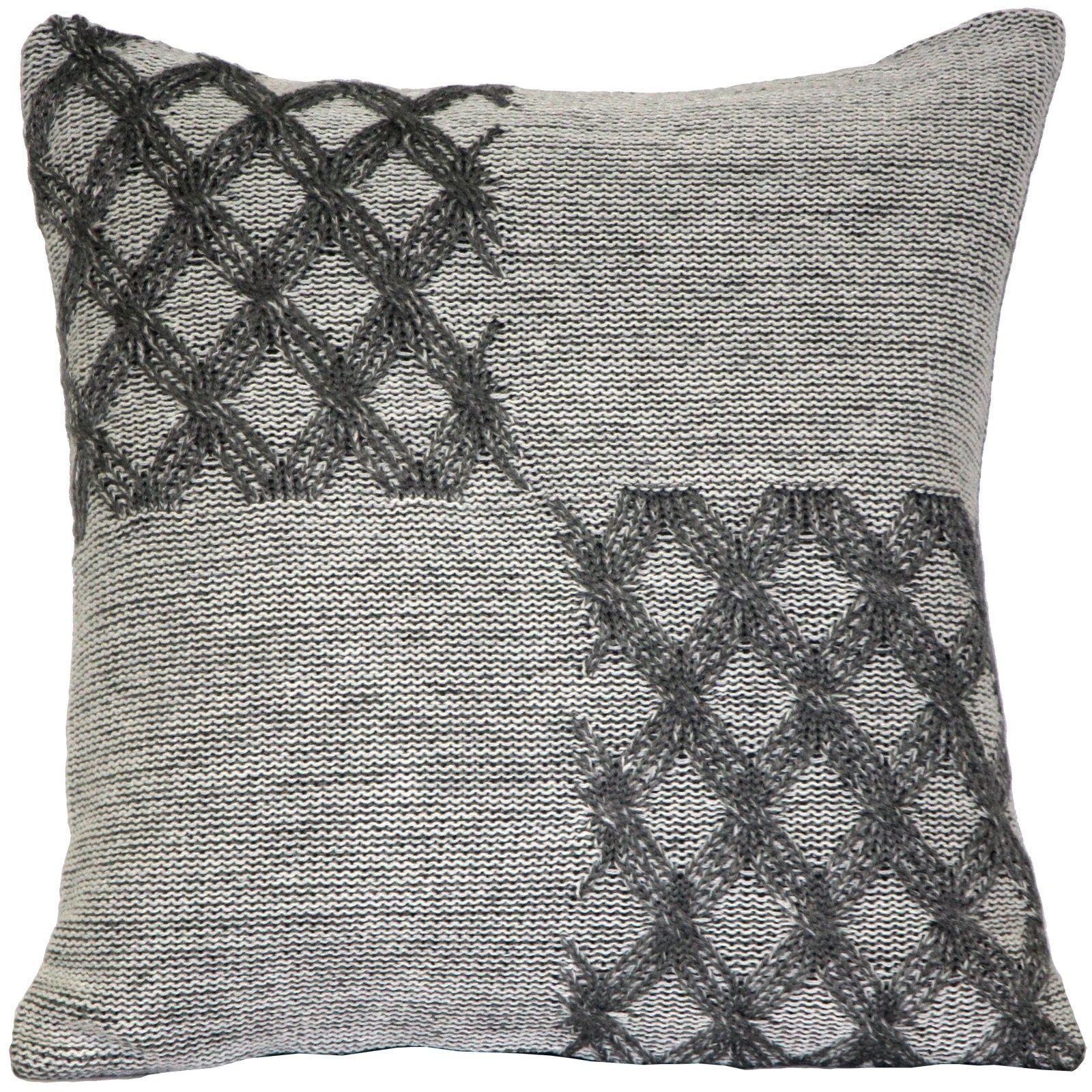 Pillow Décor - Hygge Morning Gray Knit Pillow, Grey, Pillow Decor - 18 x 18 (Ac...