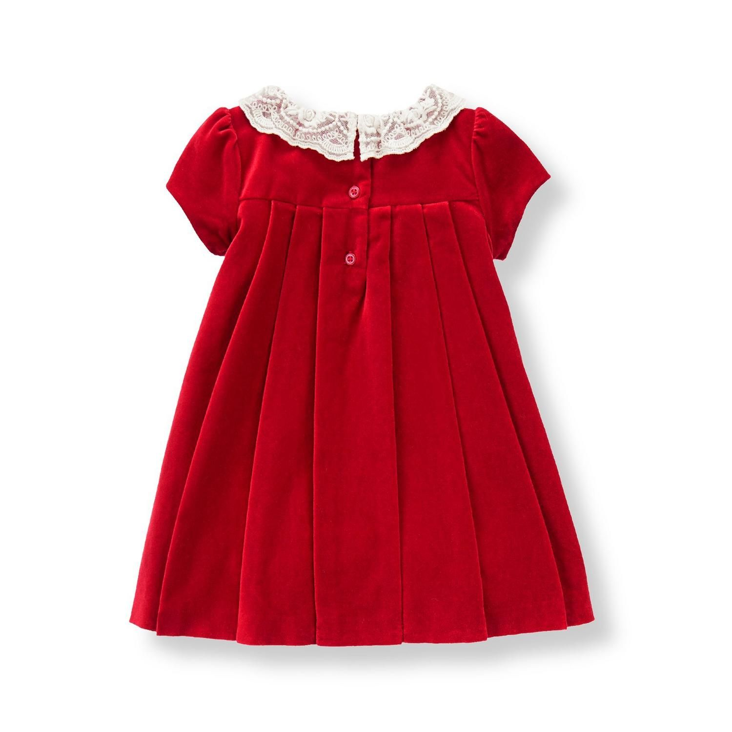 Newborn Holiday Red Lace Collar Velveteen Dress by Janie and Jack
