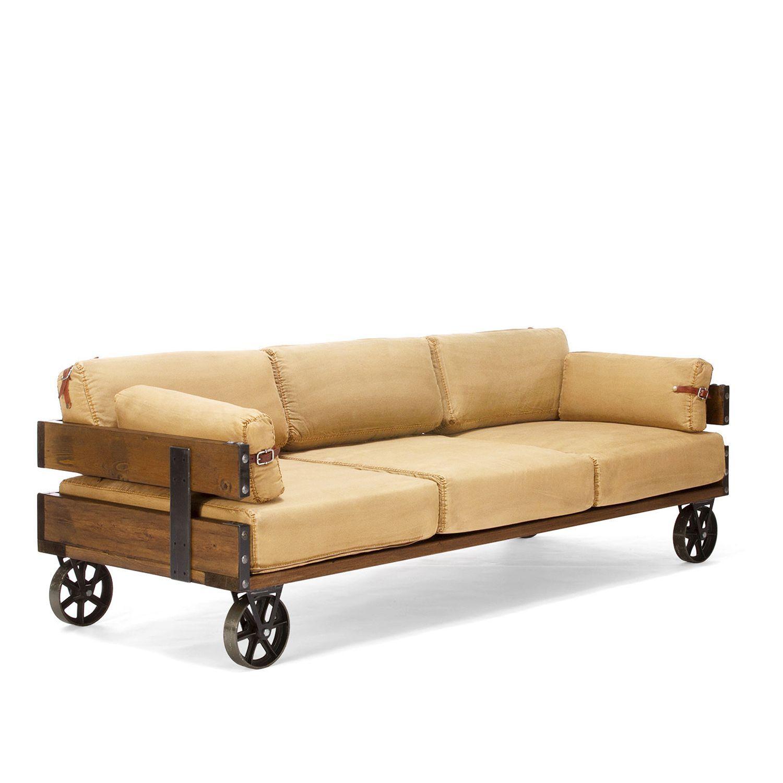 Industrial furniture sofa - Sof 3 Lugares De Estilo Industrial Suas Quatro Rodas De Ferro Permitem Colocar O Sof