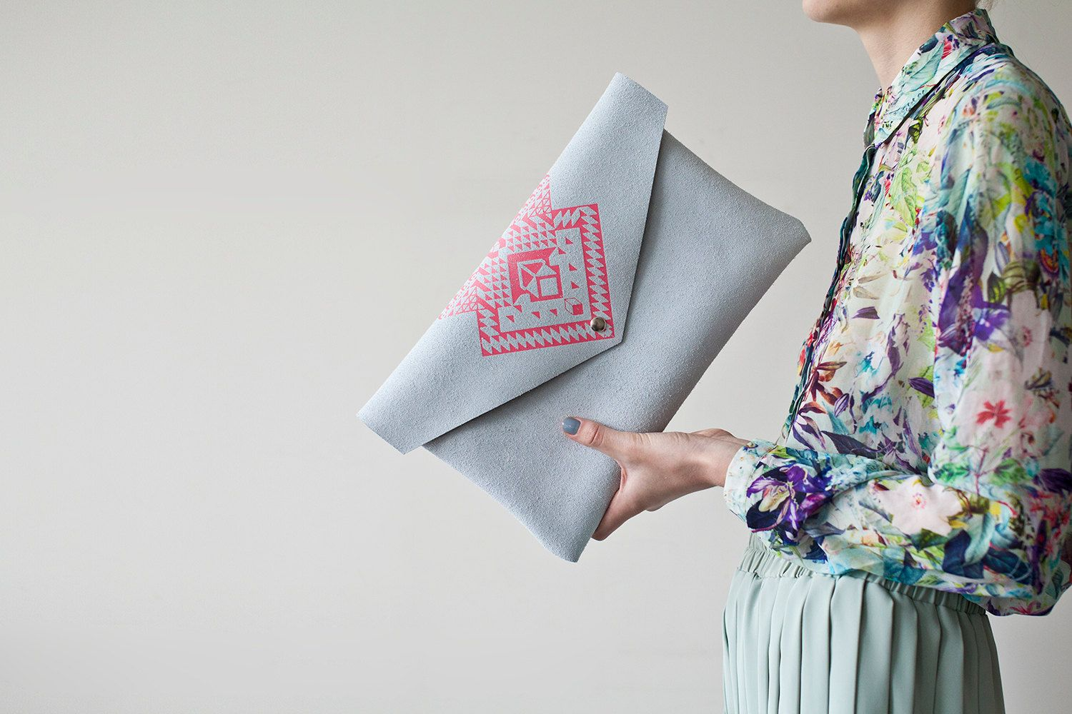 Envelope Bag Geometrical Illusion Leather Suede Neon Pink by Coriumi, Etsy
