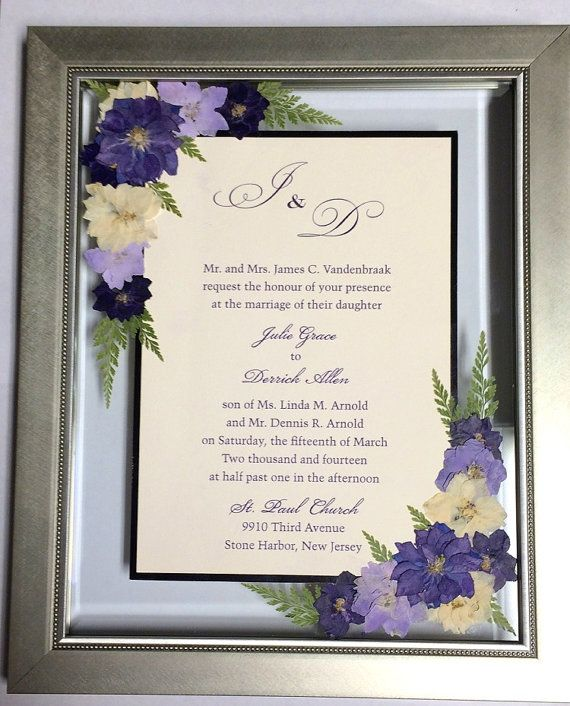Custom framed invitations with real pressed flowers for Wedding invitations with real flowers