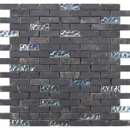 Cool Black Marble and Glass Brick Mosaic Tiles 305 x 305mm Lovely - Style Of black mosaic tile Awesome