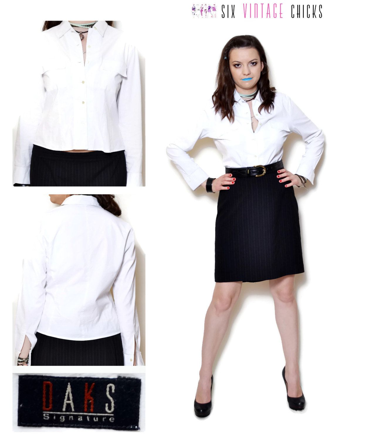 5e7cb1900d9 white shirt vintage women clothing long sleeve shirt sexy tops office  clothes 90s clothing formal blouse minimalist button down shirt by  SixVintageChicks on ...