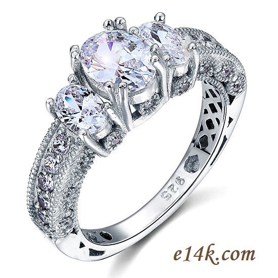 Silver Antique Cubic Zirconia Rings Engagement Rings Wedding Bands Cz Je Sterling Silver Wedding Rings Silver Wedding Rings Sterling Silver Engagement Rings