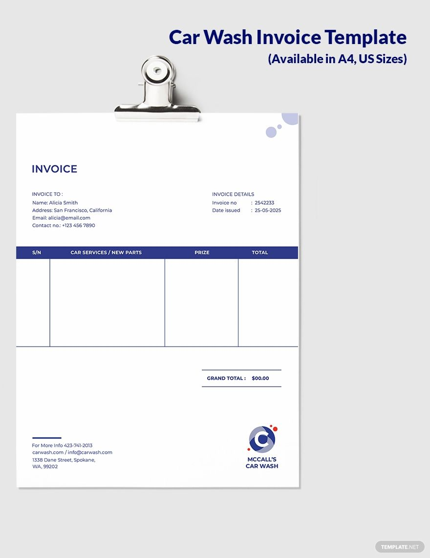 Free Mobile Car Wash Invoice Template Google Docs Google Sheets Excel Word Template Net Invoice Template Template Google Car Wash