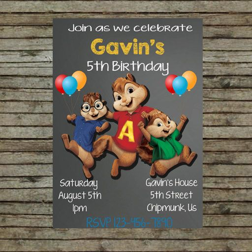 Alvin And The Chipmunks Birthday Party Invitation Jayceon 1st