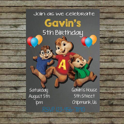 alvin and the chipmunks birthday party invitation birthday