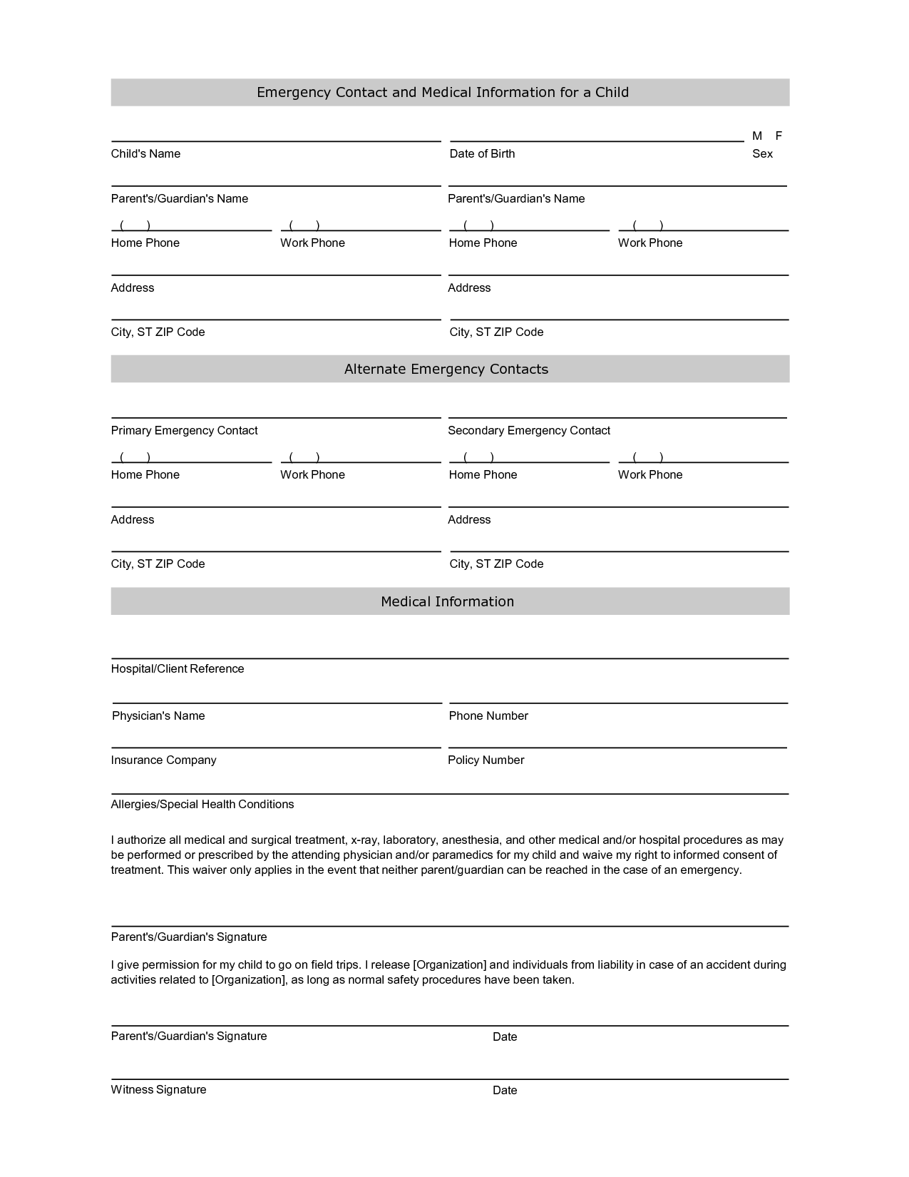 Free student information sheet template student for Emergency contact form template for child