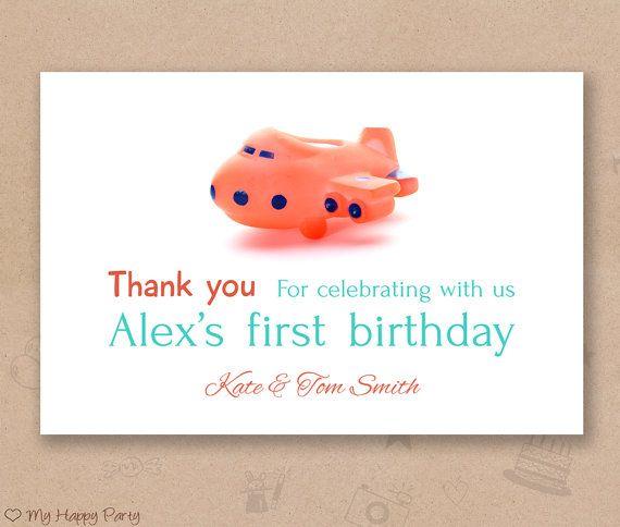 "First birthday Thank you card, airplane thank you card, airplane birthday party, toddler birthday  - PRINTABLE, 4""x6"""