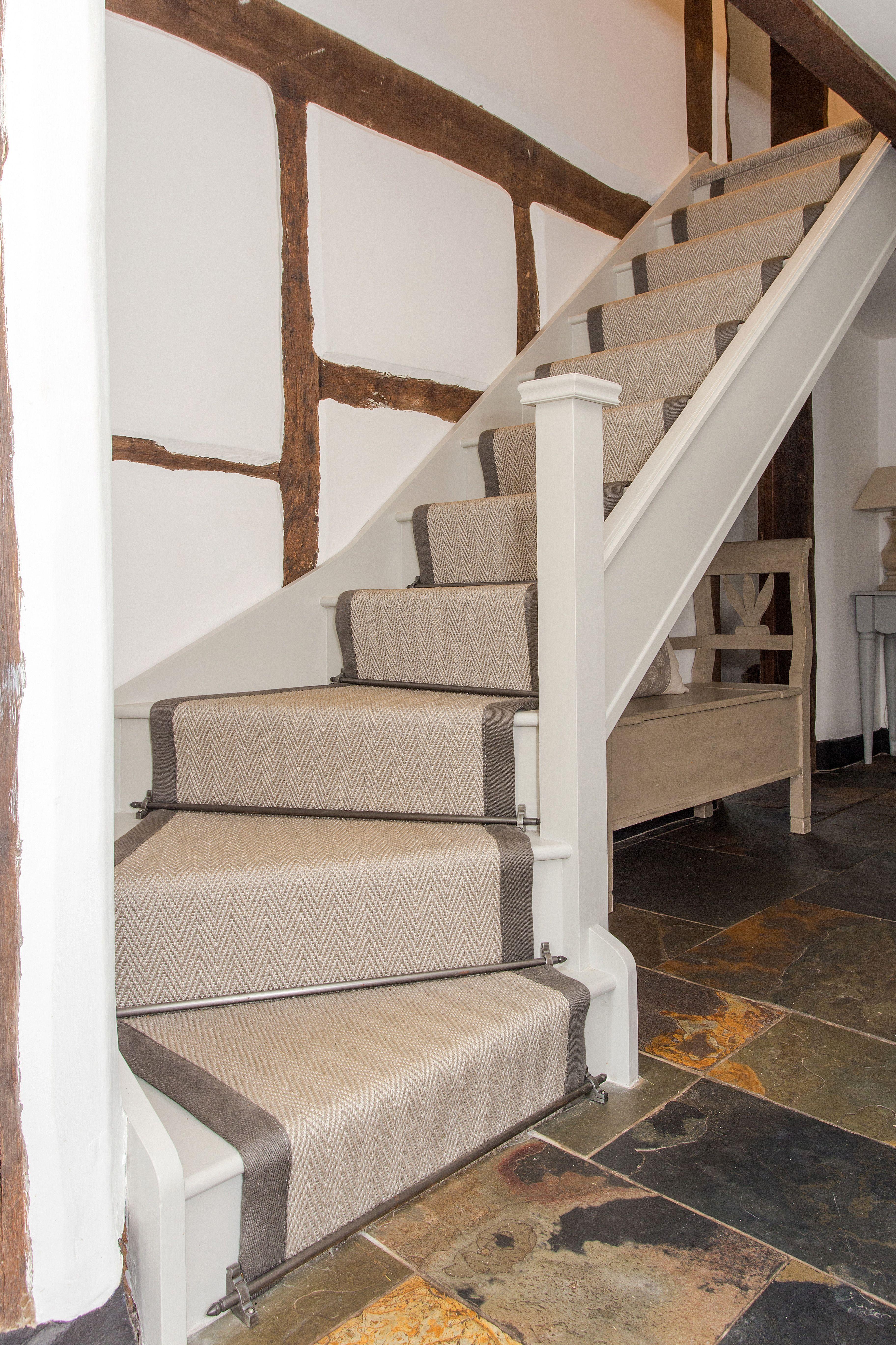 Sisal Herringbone Taped Stair Runner Stair Runners Carpet Modern Carpet Stairs Stair Runner