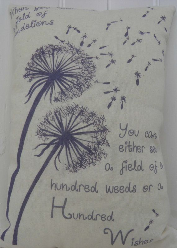 Dandelion Wishes Inspirational Quote Flower by TheSewingCroft, $14.00