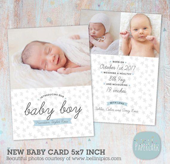 Newborn Baby Boy Birth Announcement - New Baby - Photoshop Card