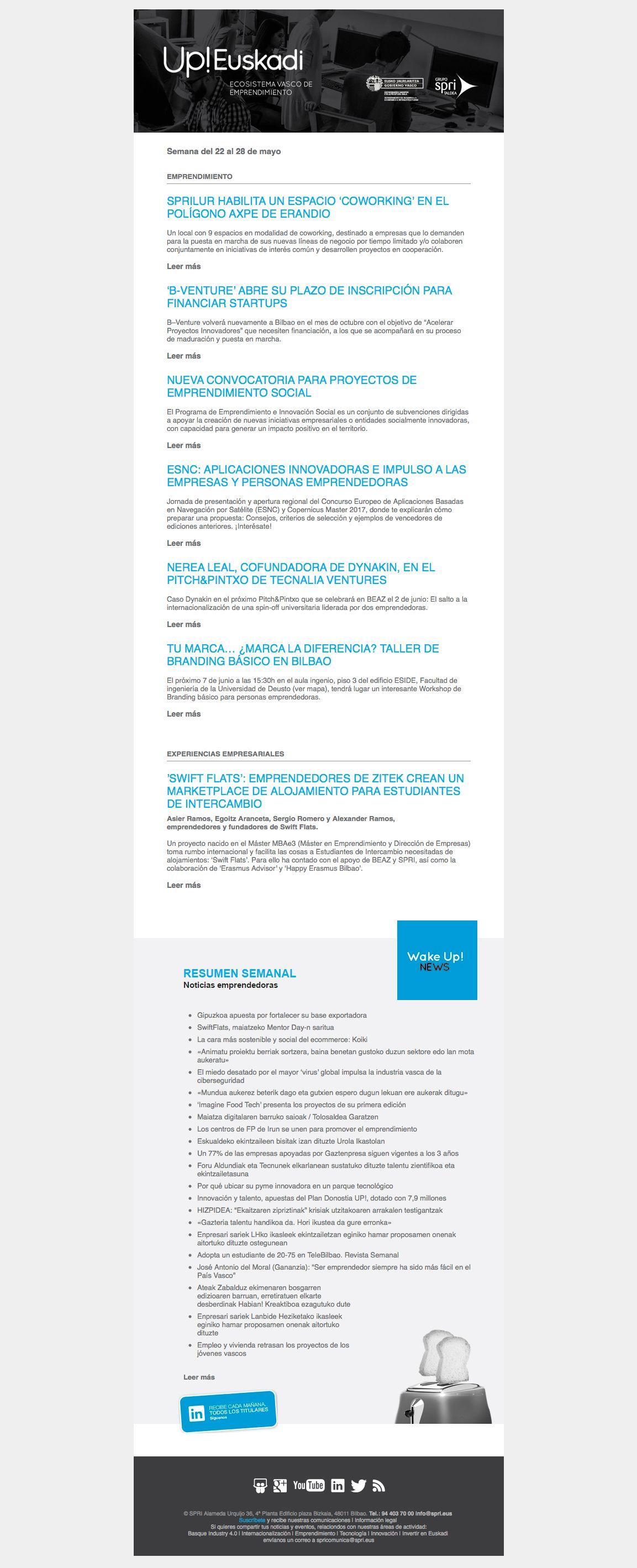 Noticias de Emprendimiento/ UP Euskadi (22 al 28 de mayo 2017) 31/05/2017